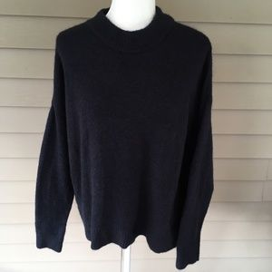 H&M Metallic Navy Loose Fit Pullover Sweater
